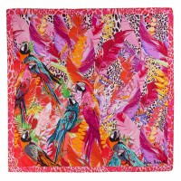 Tie-Me-Up Esarfa Matase Twill Party Parrots Pink