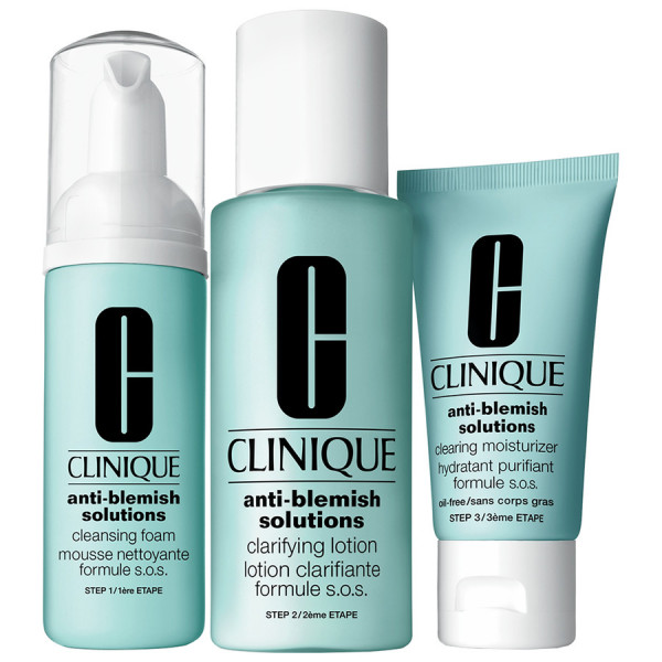 Clinique Anti-Blemish Solutions 3-Step Set - Cleansing Foam, 50 Ml + Clarifying Lotion, 100 Ml + Moisturizing