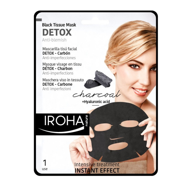Iroha Black Tissue Facial Mask Detox- Charcoal